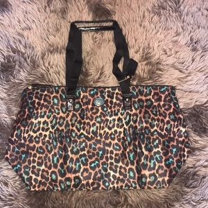 Coach leopard print nylon tote bag with clutch